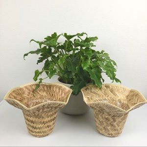 VINTAGE Set of Two Wicker Planter Fliutter Baskets